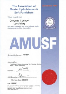 The Association of Master Upholsterers and Soft Furnishings Certificate